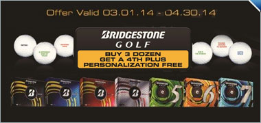 Buy 3 Personalized Dozen Bridgestone B330 Golf Balls, Receive A Personalized Dozen Free