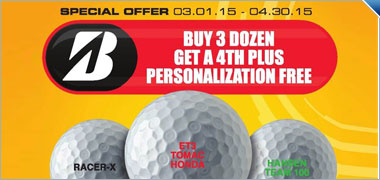 Buy 3 Dozen Personalized Bridgestone Golf Balls & Get a 4th Dozen Free
