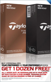Buy 3 Personalized Dozen TaylorMade Tour Preferred Golf Balls, Receive A Personalized Dozen Free